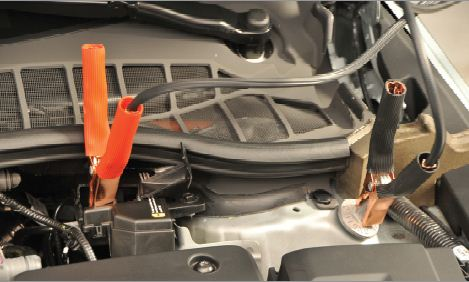 How To Jump Start The Volt Attaching Cables on 2012 Chevy Camaro Battery Location